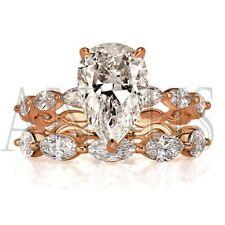 5.67ct Pear cut Diamond Bridal Engagement Ring Wedding Band Real 18K Rose gold