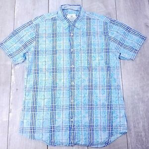 Bugatchi Uomo Shaped Button Up Shirt Mens Medium Blue Plaid Short Sleeve SB112