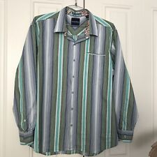 Tommy Bahama XXL Multicolor Striped Cotton Silk Button Down Shirt Long Sleeve