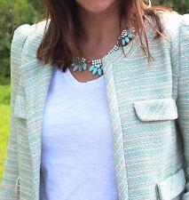 ZARA WOMAN FANTASY BLAZER MINT GREEN COAT JACKET POCKETS BOUCLE SMALL S NEW