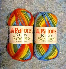 PATONS KROY SUNBURST (RED ORANGE YELLOW 2 BLUES & GREEN) SOCKS YARN - 166 YDS
