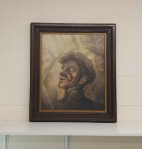 Portrait Of A Miner in the style/manner of Peter Howson Unsigned Oil On Board