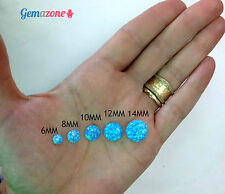 LOT 6MM Round Flat Back Cabochons Fire Lab Blue Opal Loose Gemstone Cabs 10 pcs