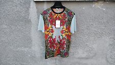 $740 Givenchy Baby Blue Iris Floral Birds of Paradise Oversized T-shirt size XS