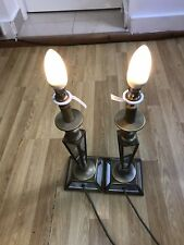 Laura Ashley pair of Antique brass Lamp Bases And Glass RRP-£140