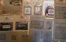 Lot of 13 CEDAR HILL Cross Stitch Sampler Charts + KIT w/Linen