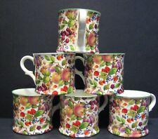 Set Of 6 ORCHARD Small English Fine Bone China Mugs Cups By Milton China