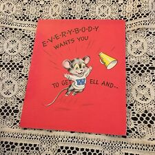 Vintage Greeting Card Get Well Cute Mouse Cheerleader Ice Cream