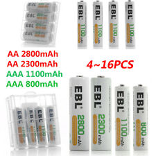 EBL Lot AA AAA NI-MH Rechargeable Batteries 2800mAh 2300mAh 1100mAh 800mAh + Box