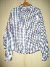 mens HOLLISTER BLUE & WHITE COTTON CHECK SHIRT SIZE LARGE (SHORT LENGTH)