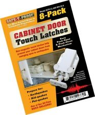 Safe-T-Proof Cabinet Door Touch Latches (White) for Kids Pets or Earthquakes