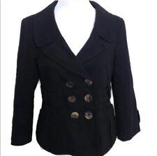 Nanette Lepore Jacket 6 Black Long Sleeve Double Breasted Women's Career Cotton