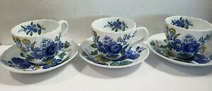 Set Of 3 Copeland Spode Blue Flowers Tea Cups and Saucers