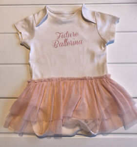 "Baby Girls Next Tutu Skirt Body Age 6-9 Months ""Future Ballerina"" Slogan"