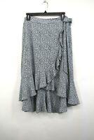 Michael Kors Womens Navy Blue Printed Ruffle Hem Flowy Midi Skirt L $120