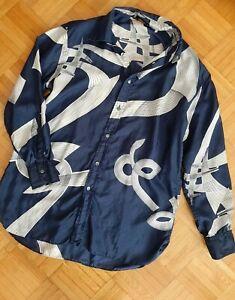 Lorenzini Damen Blusenhemd Hemd Seide Langarm Gr.40/42..Blau mit Muster Vintage
