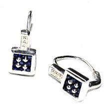 petites Boucles d'oreilles argent massif 925 dormeuses saphir bleu bijou earring