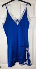 Ekouaer Blue Satin Style Gown Large