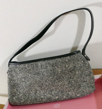 Banana Republic Tweed & Leather Purse- Small Black, White, Gray Hobo Bag