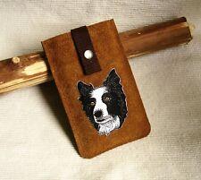Handytasche Leder. Sheltie Border Collie UNIKAT! +Lift-up-Funktion Hund shepherd