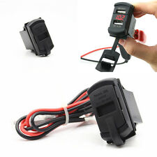 Red LED Jack Switch Style Car Boat Digital Voltmeter 2USB Charger Power Socket