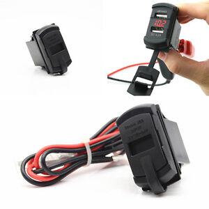 Red LED Jack Style Car Boat Digital Detection Voltmeter USB Charger Power Socket