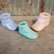Vintage Lot Of 3 Small Ceramic Baby Shoe/Boot Planters