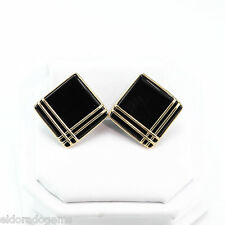 GEMSTONE STUD EARRINGS – 20 mm SQUARE NATURAL BLACK ONYX IN 14K YELLOW GOLD