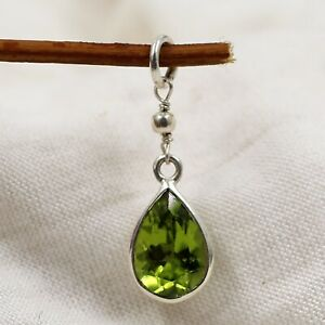 Peridot Silver Pendant 925 Sterling Silver Handmade Jewelry Gift For Her