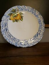 "12"" Blue And White Homemade Platter With Pair Design"