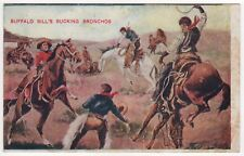 BUFFALO BILL BUCKING BRONCHOS Broncos PC Postcard COWBOY Western WEST Horses