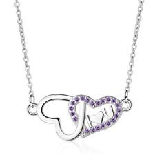 Women's Charm Elegant 925 Sterling Silver Zircon Love Heart Pendant Necklace