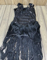 Curtain Call Black Fringe Matte Sequins Dance Costume Style J4802 Size AME