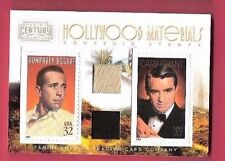 CARY GRANT & HUMPHREY BOGART WORN SWATCH MATERIALS RELIC & STAMP CARD #d250