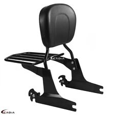 Sissy Bar Backrest Pad With Luggage Rack for Harley Davidson FXSTB FXSTS 06-up