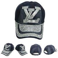 Jewel Studded LV Baseball Cap Bling Las Vegas Rhinestone Jean Denim Hat Party