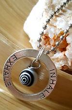 "Inhale Exhale Silver Spiral Eye Protection Pendant Necklace 18"" Meditation Yoga"