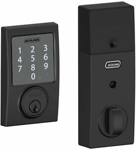 NEW Schlage Century Matte Black Sense Smart Door Lock Deadbolt BE479AAVCEN622