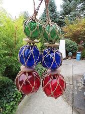 "Two 3""4""5"" Red, Cob Blu, Grn Trio Curio Glass Floats Balls Buoys Bouys Net"