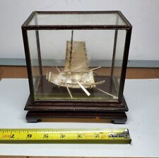 New listing Antique Chinese Taiwan Solid Silver Bamboo Raft Boat Ship Model w Glass Case