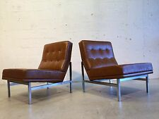 two Florence Knoll leather lounge chairs mid century