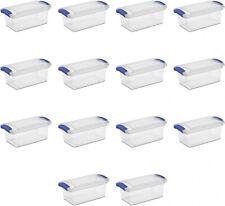14 Pack Latch Box 7 Qt Container Closet Storage Shoes Toys Sterilite Clear Lid