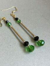 crystal long 14ct gold filled earrings Art Deco vintage style emerald gree glass