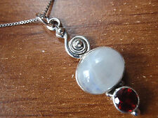 Faceted Garnet and Moonstone Pendant 925 Sterling Silver with Swirl Accent t39c