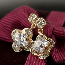 18k gold gf made with SWAROVSKI crystal wedding bride stud dangle earrings