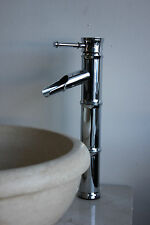 Bamboo Tall Vessel Sink Chrome Bathroom Faucet Modern Contemporary Open Spout