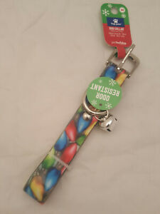 """top paw Dog Collar COLORFUL Holiday LIGHT M 14-18"""" Neck Christmas ODOR RESISTANT"""