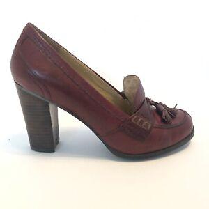 Nine West Nobleman Tassel Loafer Leather Pump Burgundy Women's Size 8 M