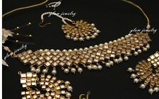 Designer Kundan Bollywood Jadau Choker Necklace Gold Muslim Punjabi Jewelry Set