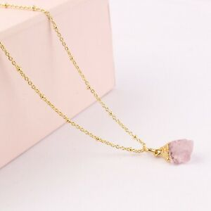 Tiny Rough Rose Quartz Yellow Gold Plated Pendant Chain Bronze Necklace